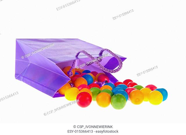 Candy bag with chewing gum balls