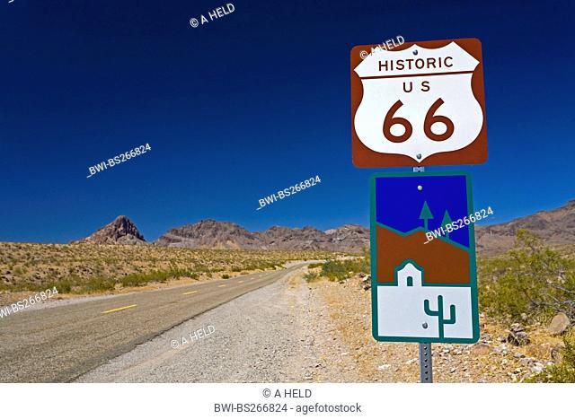 historic Route 66 and road sign, USA, Arizona