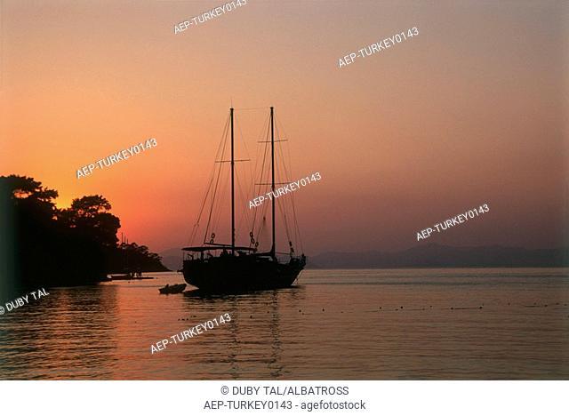Photograph of a sail boat in the Mediterranean sea near Turkey