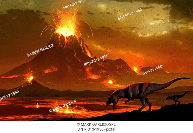 Artwork of a pair of tyrannosaur dinosaurs surveying a volcanic landscape. This depicts a scene at the end of the Cretaceous period in Earth's history