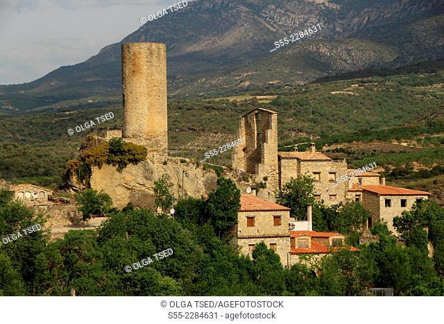 La Baronia Sant Oïsme, old Castle of Sant Oïsme and old round tower, XI century, la Noguera Pallaresa valley and Àger valley, over Camarasa reservoir