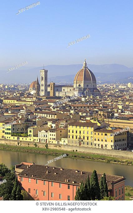 The Duomo and Giotto's Bell Tower from Piazzale Michelangelo, Florence, Tuscany, Italy, Europe