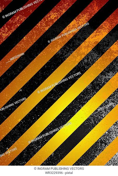 Grunge warning background with orange and black stripes