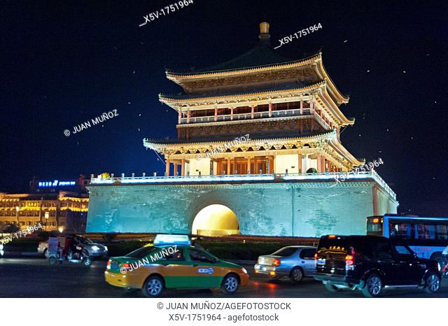 Bell tower, Night view, Xi'an, Shaanxi, China