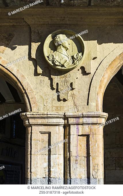Medallion dedicated to Francisco Franco, spanish dictator. Removed on June 9, 2017. The Plaza Mayor, Main Square, in Salamanca, Castilla y Leon, Spain, Europe
