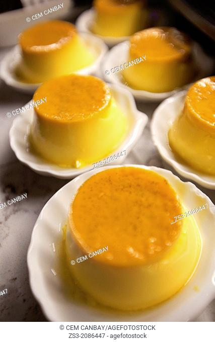 Creme Caramel in pastry shop, Istanbul, Turkey, Europe