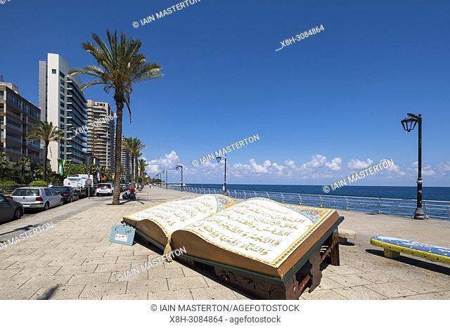 Large sculpture of The Koran on The Corniche in Beirut, Lebanon