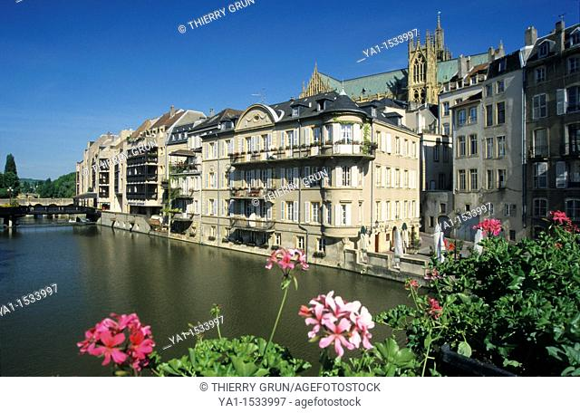 Moselle river canal and back cathedral Saint Etienne viewed from Pont des Roches, , Metz town, Lorraine region , France