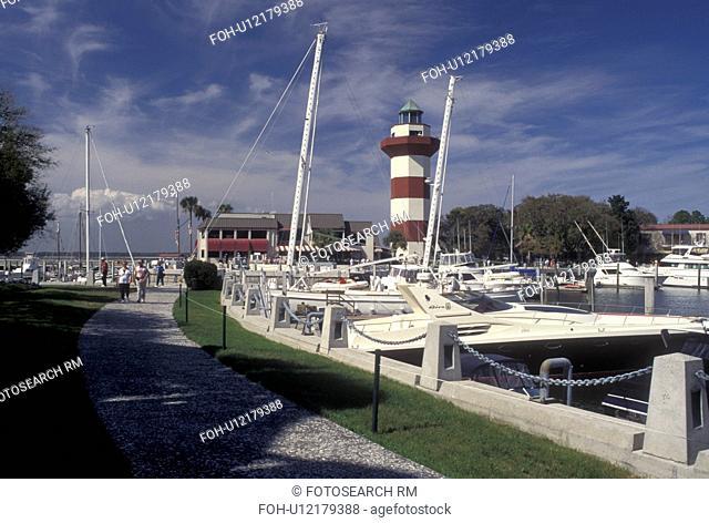 Hilton Head Island, SC, South Carolina, Marina and Lighthouse at Harbour Town Yacht Basin on Hilton Head Island