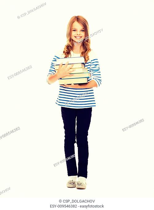 little student girl with many books