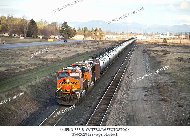 A BNSF oil train in Spokane Valley, Washington, USA