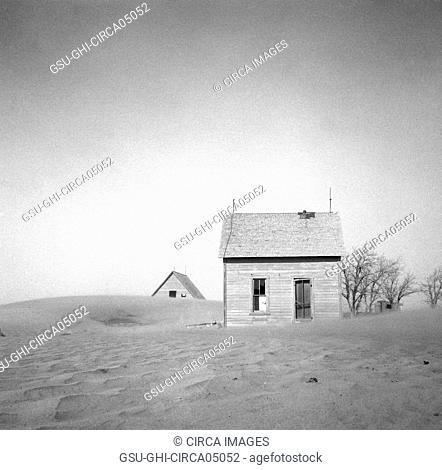Sand Whirling Around House and Barn, Cimarron County, Oklahoma, USA, Arthur Rothstein, Farm Security Administration, April 1936