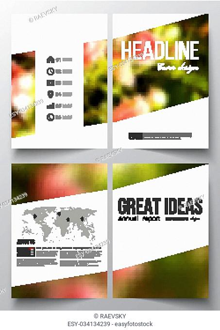 Set of business templates for brochure, magazine, flyer, booklet or annual report. Colorful floral background, blurred image, pink flowers on green