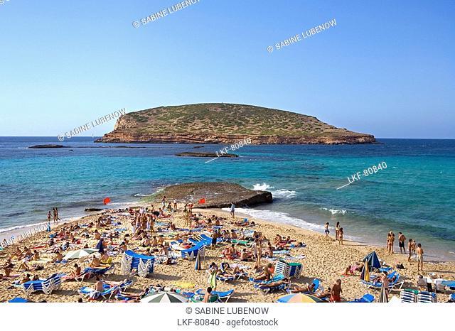 Beach, Cala Comte, lsland Conillera, Ibiza, Balearic Islands, Spain