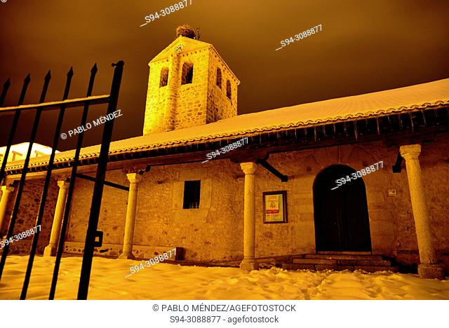 Church of Purisima Concepcion and view of Bustarviejo town, Madrid, Spain