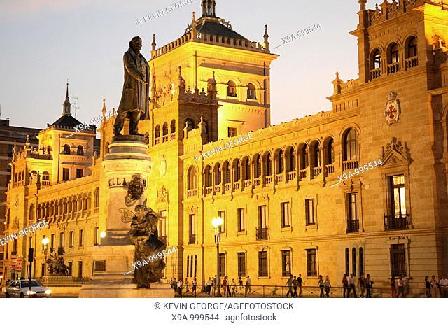 Cavalry Academy with Monument to Zorrilla, Valladolid, Spain
