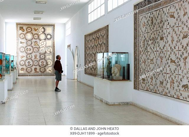 Africa, Tunisia, Ancient Thysdrus, El Djem Museum, Roman Mosaic, Sightseer