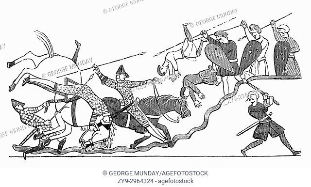 A scene of the fighting between the Normans of King Williiam I and King Harold's Anglo Saxon army during the Battle of Hastings in 1066