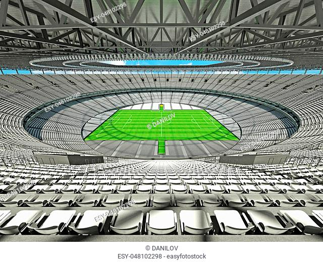 3D render of a round football - soccer stadium with white seats for hundred thousand people with VIP boxes