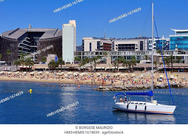 Spain, Catalonia, Barcelona, Barcelonata Beach and the the Barcelona Biomedical Research Park designed by the architects Manuel Brullet and Albert de Pineda