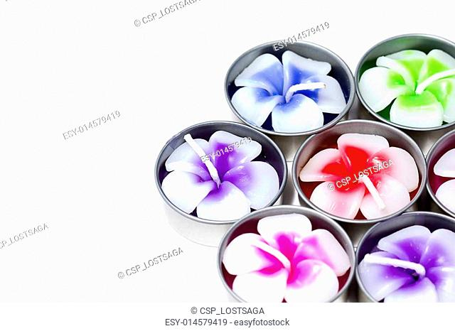 frangipani flowers of candle isolated on background white