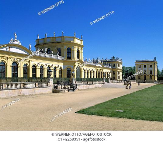 Germany, Kassel, Fulda, West Hesse Highlands, Hessian Highlands, Hesse, Orangery in the Karlsaue Park, baroque castle, castle gardens, baroque garden
