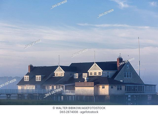 USA, Massachusetts, Cape Ann, Annisquam, Annisquam Yacht Club in summer fog