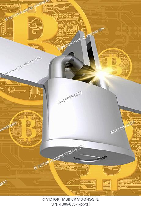 Padlock with bitcoins, computer artwork