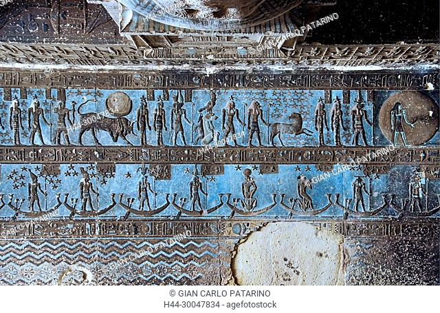 Dendera Egypt, temple dedicated to the goddess Hathor. View of the hypostyle hall before cleaning
