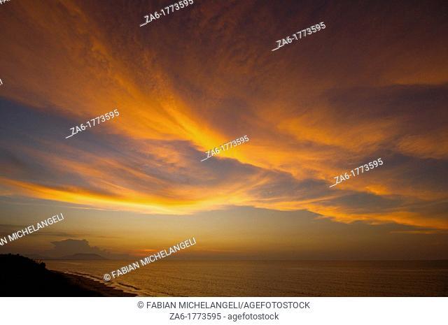 Sunset clouds in Rio Caribe in the eastern coast of Venezuela