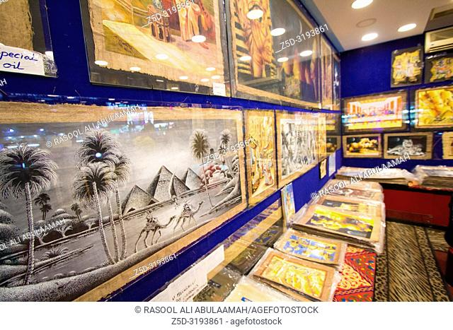 Sharm El-Shaikh, Egypt - November 2, 2018:- photo for Pharaonic paintings shop In the Egyptian city of Sharm el-Sheikh, its shows Some Egyptian painting Which...