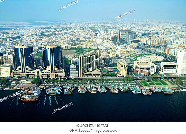 Aerial view of the Twin Towers and Creek, Deira, Dubai, UAE