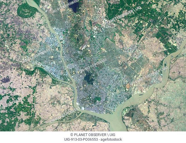 Colour satellite image of Rangoon, Myanmar. Image taken on March 27, 2014 with Landsat 8 data
