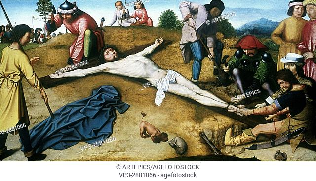 Gerard DAVID . Christ Nailed to the Cross. 1485. National Gallery London