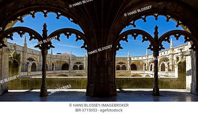 Manueline cloister by João de Castilho, Mosteiro dos Jerónimos, Jeronimos Monastery, UNESCO World Cultural Heritage Site, Belém, Lisbon, Lisbon District