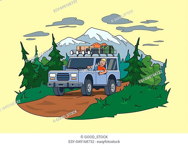 SUV car with luggage on the roof and smiling guy behind the wheel moving through the forest near the mountain. Off-road vehicle on the natural landscape