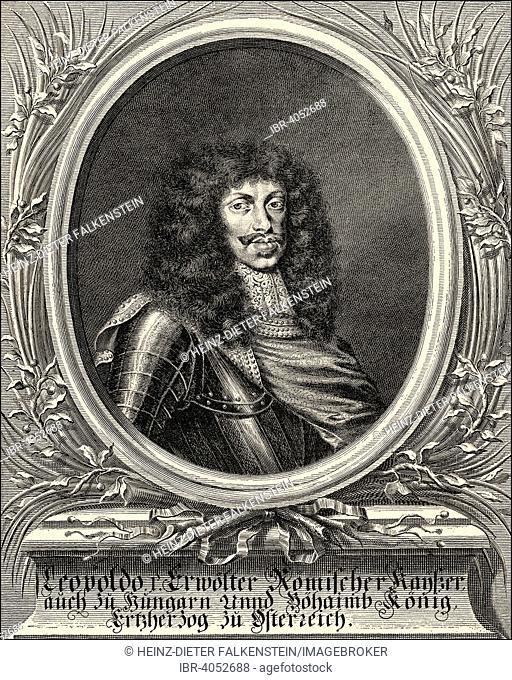 Leopold I, 1640-1705, Emperor of the Holy Roman Empire and King of Hungary, Bohemia, Croatia and Slavonia, historical illustration