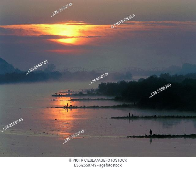 Sunrise on the Vistula river near Sandomierz. Poland