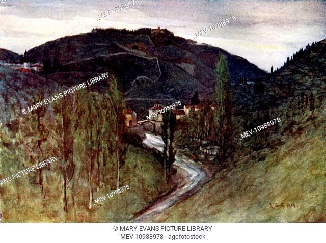 The Valley of the Mugnone, below Fiesole, with Monte Rinaldini and the ponte Alla Badia