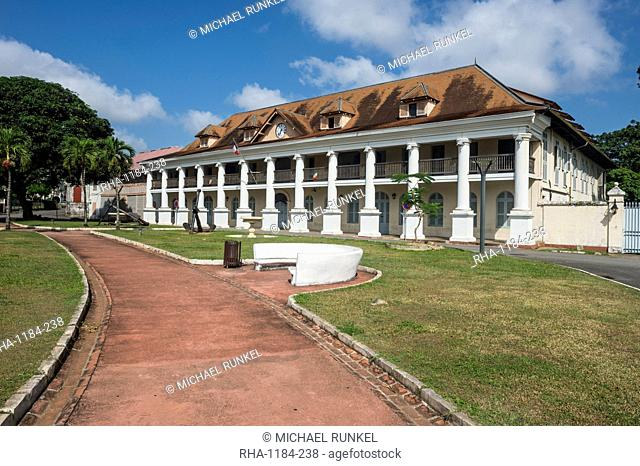 French Colonial Buildings With Colonnades Stock Photos And Images