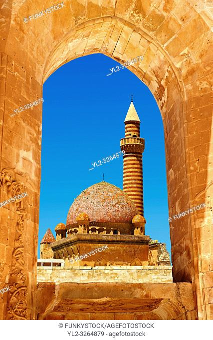 Minarete of the Mosque of the 18th Century Ottoman architecture of the Ishak Pasha Palace, Agri province eastern Turkey