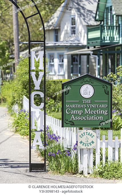 "A sign marks an entrance to the Martha's Vineyard Camp Meeting Association (MVCMA) aka """"Wesleyan Grove"""" in Oak Bluffs, Massachusetts"
