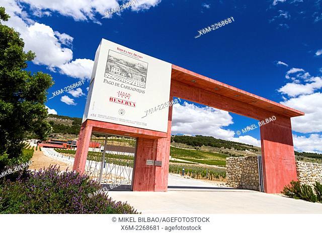 """""""""""""""""""""""Pago de Carraovejas"""""""" winery. Peñafiel village. Ribera de Duero Wine region. Valladolid. Castile and Leon. Spain, Europe"""