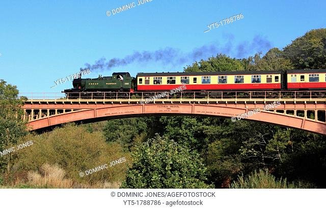 GWR Small Prairie 2-6-2 No 4566 crosses the River Severn via Victoria Bridge, Near Upper Arley, Worcestershire, England, Europe