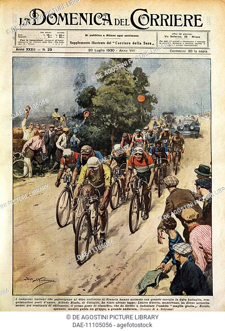 The Tour de France, Learco Guerra (1902-1963) leading the pack, illustration by Achille Beltrame (1871-9145) from La Domenica del Corriere, July 20, 1930