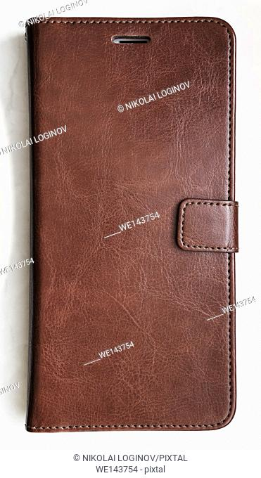 Vertical leather smartphone case textured background