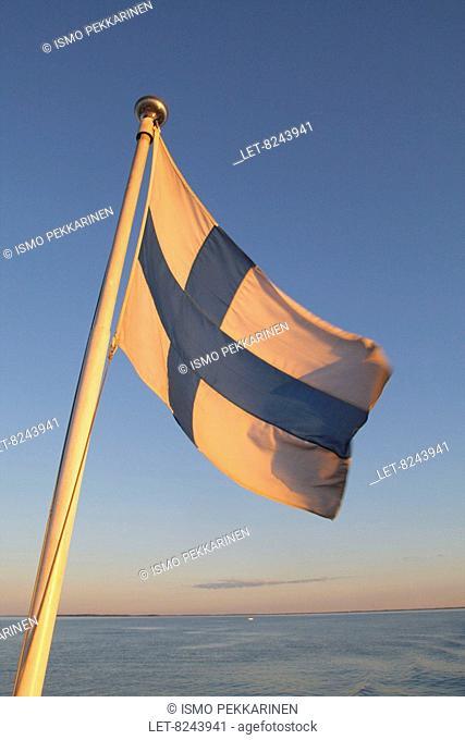 The Finnish flag on boat Vinkeri at Lake Pyhäselkä in Joensuu, Finland