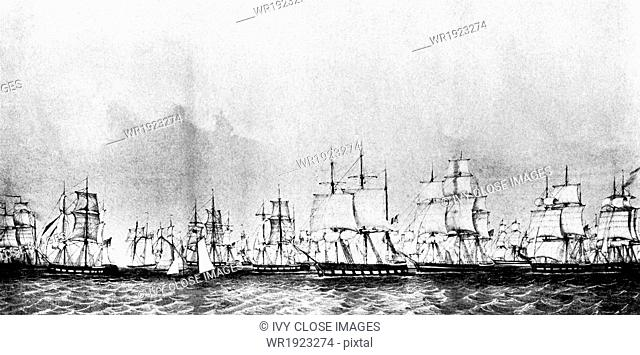The Stone Fleet sailed from New Bedford harbor on November 16, 1861. To stop the blockade runners in and out of the Southern ports at the beginning of the Civil...