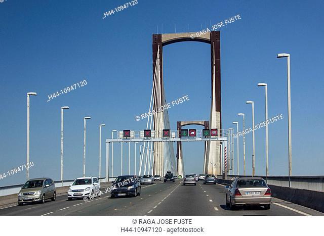 Spain, Europe, Andalucia, Region, Sevilla, City, Centenary Bridge, Centenary, Sevilla, bridge, lanes, new, road, signs, traffic