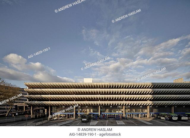 Curved carpark balconies of Preston Bus Station, Lancashire, England, UK
